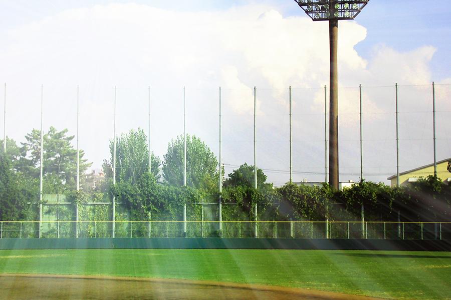 日差しが降り注ぐ真夏の野球場