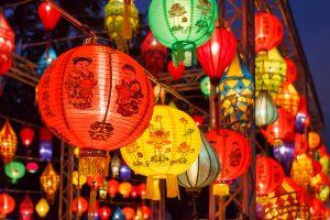 提灯が並んだ中国や台湾のイメージ写真