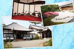 静岡市清水区由比町の地持院の外観と彼岸庭と襖絵