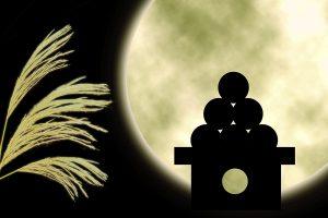 満月に照らされたすすきと月見団子のシルエット