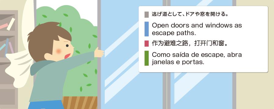 逃げ道として、ドアや窓を開ける