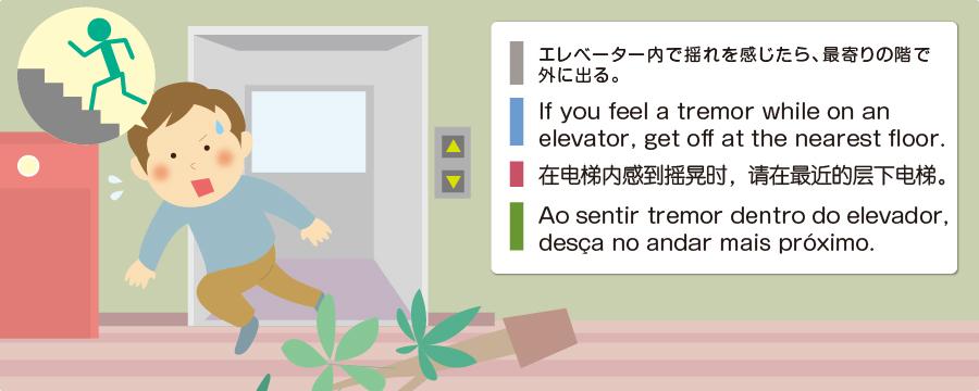 エレベーター内で揺れを感じたら、最寄りの階で外に出る