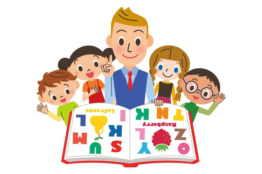 英会話教師と子どもたちのイラスト
