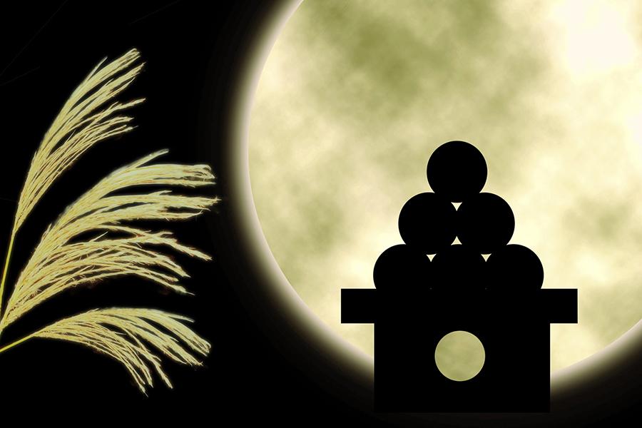 満月に照らされたススキとお月見団子のシルエット
